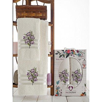 Комплект махровых полотенец Spring Flowers в коробке (50*90; 70*140), лиловый (mt-100628), фото 1