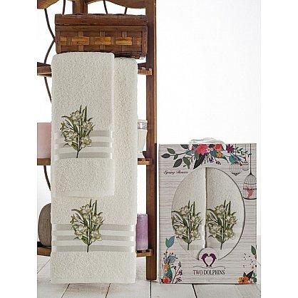 Комплект махровых полотенец Spring Flowers в коробке (50*90; 70*140), зеленый (mt-100627), фото 1