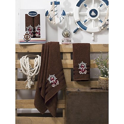 Комплект махровых полотенец Vevien Gemi в коробке (50*90; 70*140), шоколадный (mt-100569), фото 1