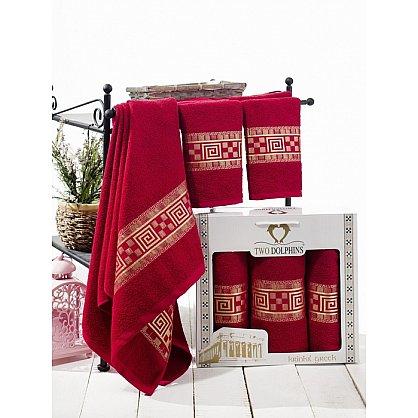 Комплект из 3-х полотенец Krinkil Greek в коробке (50*90; 70*140), бордовый (mt-100659), фото 1
