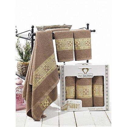 Комплект из 3-х полотенец Krinkil Greek в коробке (50*90; 70*140), шоколадный (mt-100663), фото 1