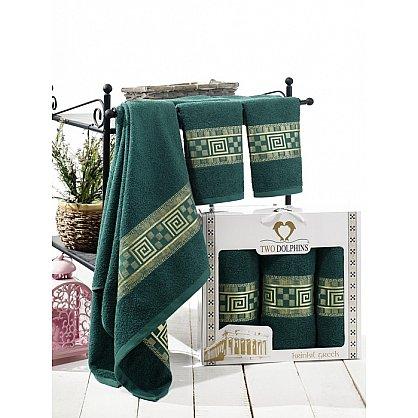 Комплект из 3-х полотенец Krinkil Greek в коробке (50*90; 70*140), зеленый (mt-100660), фото 1