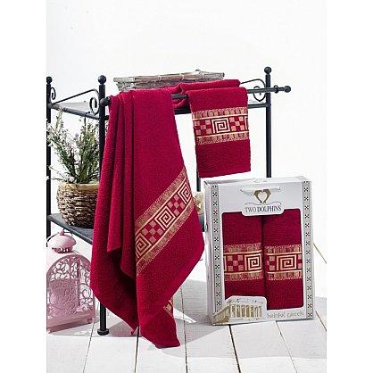 Комплект из 2-х полотенец Krinkil Greek в коробке (50*90; 70*140), бордовый (mt-100614), фото 1