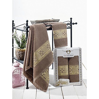 Комплект из 2-х полотенец Krinkil Greek в коробке (50*90; 70*140), шоколадный (mt-100618), фото 1