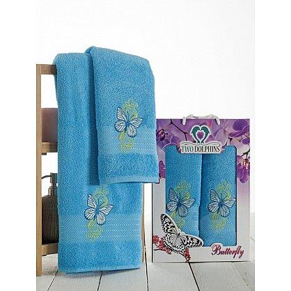 Комплект из 2-х полотенец Butterfly в коробке (50*90; 70*140), бирюзовый (mt-100638), фото 1