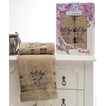 Комплект из 2-х полотенец Butterfly в коробке (50*90; 70*140), молочный (mt-100644), фото 1