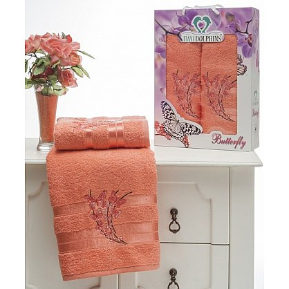 Комплект из 2-х полотенец Butterfly в коробке (50*90; 70*140), персиковый (mt-100641), фото 1