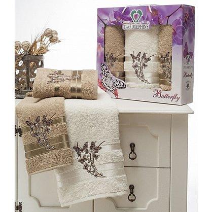 Комплект из 3-х полотенец Butterfly в коробке (50*90; 70*140), молочный (mt-100633), фото 1