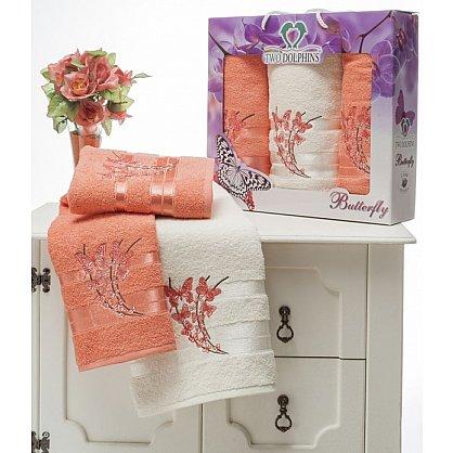 Комплект из 3-х полотенец Butterfly в коробке (50*90; 70*140), персиковый (mt-100634), фото 1