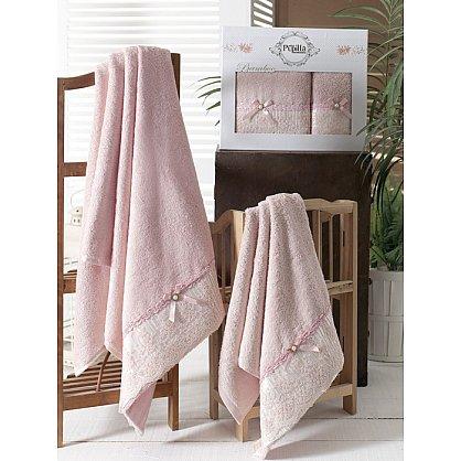 Комплект полотенец Бамбук с гипюром Diana в коробке (50*90; 70*140), розовый (mt-100476), фото 1