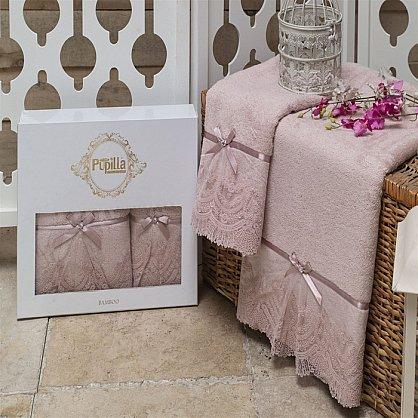 Комплект полотенец Бамбук с гипюром Vita в коробке (50*90; 70*140), лиловый (mt-100482), фото 2