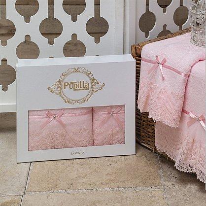 Комплект полотенец Бамбук с гипюром Vita в коробке (50*90; 70*140), персиковый (mt-100483), фото 2