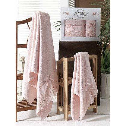 Комплект полотенец Бамбук с гипюром Vita в коробке (50*90; 70*140), розовый (mt-100484), фото 1