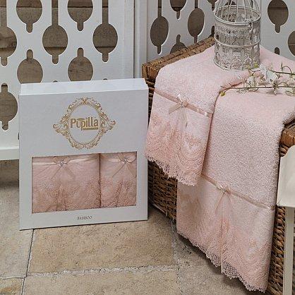 Комплект полотенец Бамбук с гипюром Vita в коробке (50*90; 70*140), розовый (mt-100484), фото 2