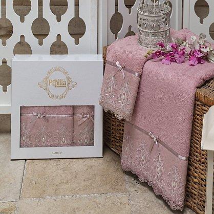 Комплект из 2-х полотенец Бамбук с гипюром Inci в коробке (50*90; 70*140), лиловый (mt-100494), фото 1