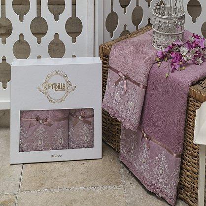 Комплект из 2-х полотенец Бамбук с гипюром Inci в коробке (50*90; 70*140), баклажан (mt-100491), фото 1