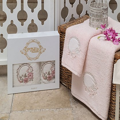 Комплект из 2-х полотенец Бамбук 3D Hayal в коробке (50*90; 70*140), розовый (mt-100459), фото 1