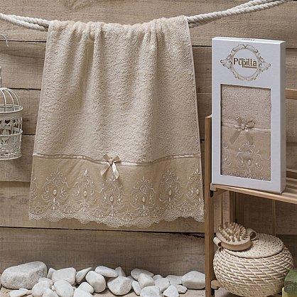Полотенце Бамбук c гипюром Inci в коробке, бежевый, 50*90 см (mt-100486), фото 1