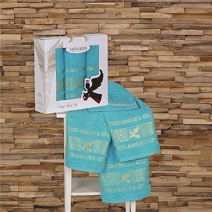 Комплект из 3-х полотенец Vevien Angel в коробке (50*90; 70*140), бирюзовый (mt-100557), фото 1