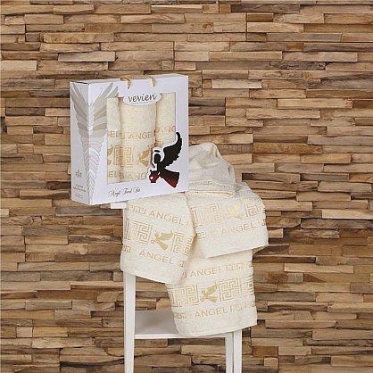 Комплект из 3-х полотенец Vevien Angel в коробке (50*90; 70*140), кремовый (mt-100559), фото 1