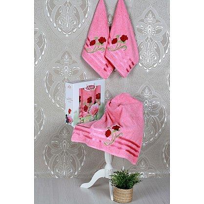 Комплект из 3-х полотенец Vevien Gul в коробке (50*90; 70*140), розовый (mt-100598), фото 1