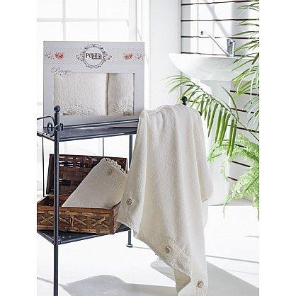 Комплект полотенец Бамбук с гипюром Daisy в коробке (50*90; 70*140), кремовый (mt-100469), фото 1