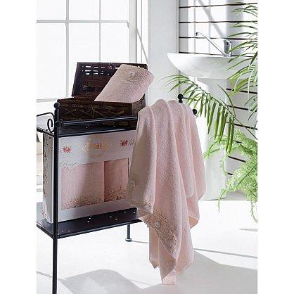 Комплект полотенец Бамбук с гипюром Daisy в коробке (50*90; 70*140), розовый (mt-100470), фото 1