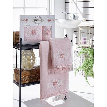 Комплект полотенец Бамбук с гипюром Stil в коробке (50*90; 70*140), розовый (mt-100480), фото 1