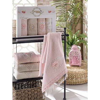 Комплект полотенец Бамбук с гипюром Stil в коробке, 50*90 см - 4 шт (mt-100465), фото 1