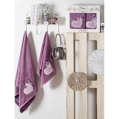 Комплект полотенец Бамбук с вышивкой Dantela Kapli в коробке (50*90; 70*140), фиолетовый (mt-100555), фото 1