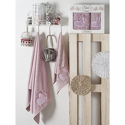 Комплект полотенец Бамбук с вышивкой Dantela Kapli в коробке (50*90; 70*140), лиловый (mt-100553), фото 1