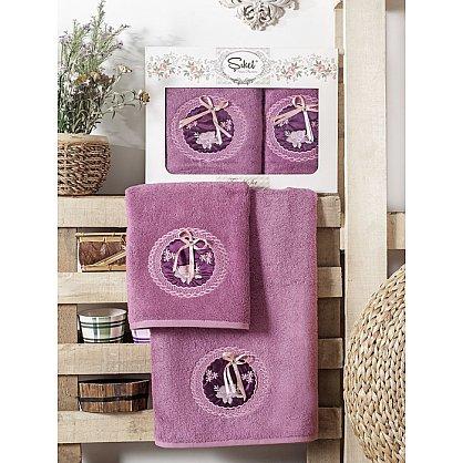 Комплект полотенец Бамбук с вышивкой Nazande в коробке (50*90; 70*140), фиолетовый (mt-100538), фото 1