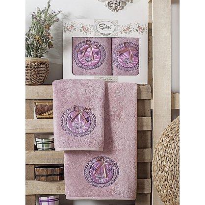 Комплект полотенец Бамбук с вышивкой Nazande в коробке (50*90; 70*140), лиловый (mt-100535), фото 1