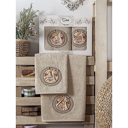 Комплект полотенец Бамбук с вышивкой Nazande в коробке (50*90; 70*140), коричневый (mt-100533), фото 1