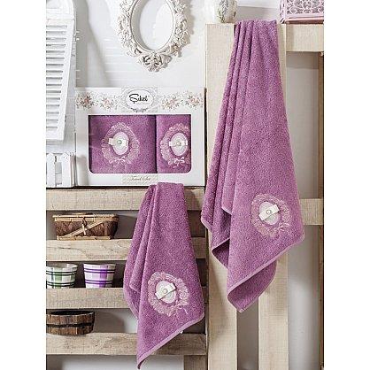 Комплект полотенец Бамбук с вышивкой Rodos в коробке (50*90; 70*140), фиолетовый (mt-100544), фото 1