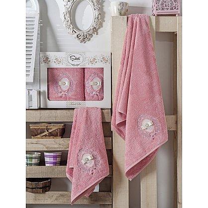 Комплект полотенец Бамбук с вышивкой Rodos в коробке (50*90; 70*140), розовый (mt-100543), фото 1