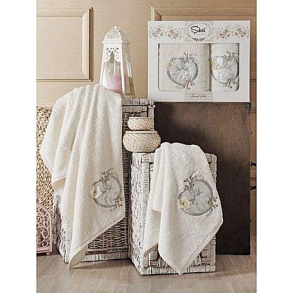 Комплект полотенец Бамбук с вышивкой Simli Kalp в коробке (50*90; 70*140), кремовый (mt-100546), фото 1