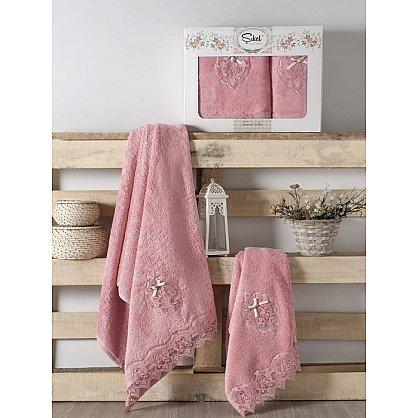 Комплект полотенец Бамбук с гипюром Palmira в коробке (50*90; 70*140), розовый (mt-100513), фото 1