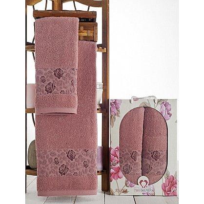 Комплект махровых полотенец Asiya в коробке (50*90; 70*140), брусничный (mt-100601), фото 1