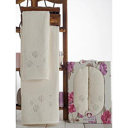 Комплект махровых полотенец Asiya в коробке (50*90; 70*140), кремовый (mt-100603), фото 1