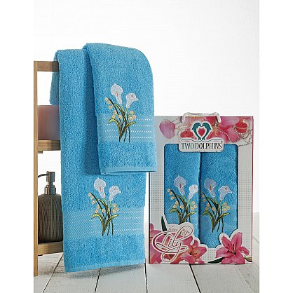 Комплект махровых полотенец Golden Lily в коробке (50*90; 70*140), бирюзовый (mt-100607), фото 1