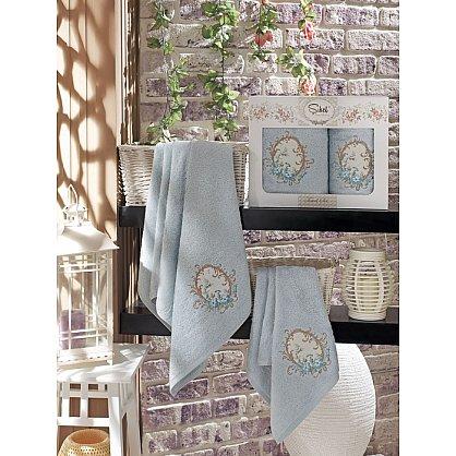 Комплект полотенец Бамбук с вышивкой Izgu в коробке (50*90; 70*140), голубой (mt-100515), фото 1