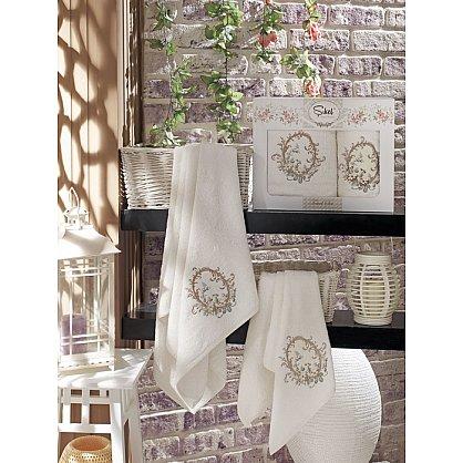 Комплект полотенец Бамбук с вышивкой Izgu в коробке (50*90; 70*140), кремовый (mt-100517), фото 1