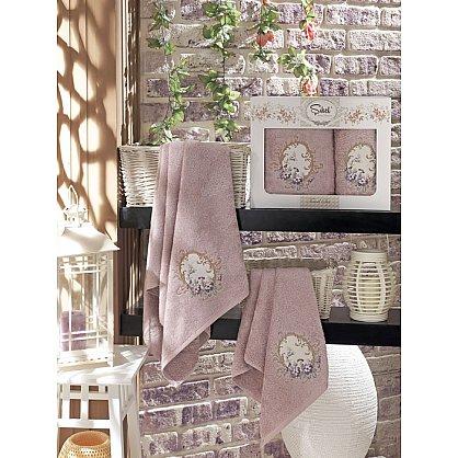 Комплект полотенец Бамбук с вышивкой Izgu в коробке (50*90; 70*140), лиловый (mt-100518), фото 1