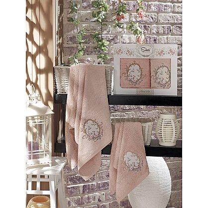 Комплект полотенец Бамбук с вышивкой Izgu в коробке (50*90; 70*140), пудра (mt-100519), фото 1