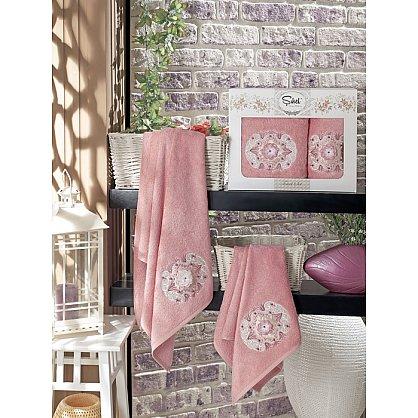 Комплект полотенец Бамбук с вышивкой Kamelya в коробке (50*90; 70*140), пудра (mt-100524), фото 1