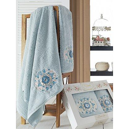 Комплект полотенец Бамбук с вышивкой Kamelya в коробке (50*90; 70*140), голубой (mt-100521), фото 1