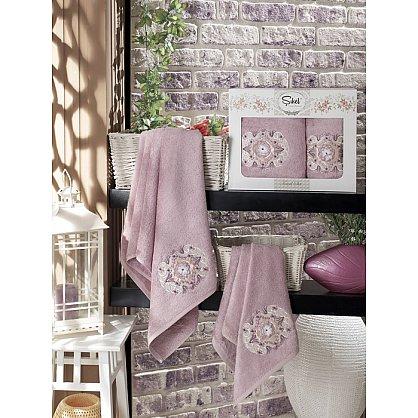 Комплект полотенец Бамбук с вышивкой Kamelya в коробке (50*90; 70*140), лиловый (mt-100523), фото 1