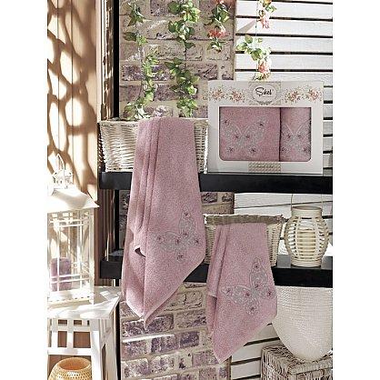 Комплект полотенец Бамбук с вышивкой Kasimpati в коробке (50*90; 70*140), лиловый (mt-100529), фото 1