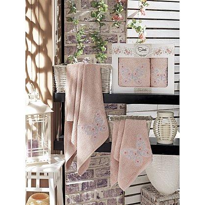 Комплект полотенец Бамбук с вышивкой Kasimpati в коробке (50*90; 70*140), розовый (mt-100531), фото 1